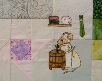 PDF pattern for Block 6 Life in the Town Victorian Mice Ethel Laundry Maid raw edge applique tutorial free motion embroidery