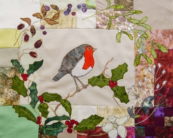 PDF pattern for Robin and holly wreath raw edge applique tutorial free motion embroidery
