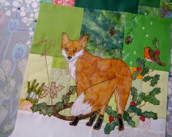 Printed Tree of Life BOM Month 4  late winter fox quilt applique pattern