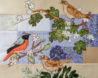 Sign up for Block of the month with Fabric & Printed pattern for  A Study in Purple quilt raw edge applique tutorial free motion embroidery