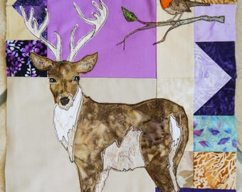 Fabric kit and pattern for Block of the month 11 stag robin raw edge applique tutorial free motion embroidery