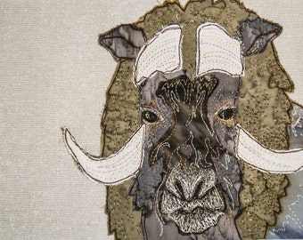 PDF pattern for Muskox raw edge applique tutorial free motion embroidery