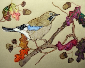 Printed pattern for Autumn Jay and oak leaves raw edge applique tutorial free motion embroidery