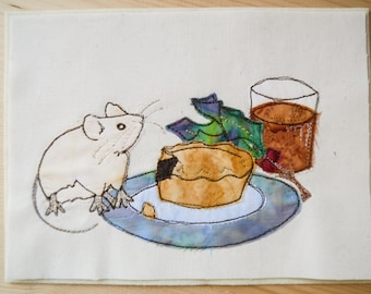 Fabric Kit and Printed pattern for Christmas eve mouse raw edge applique tutorial free motion embroidery