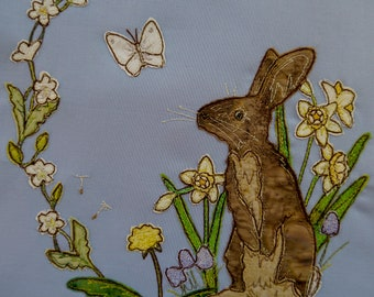 Fabric Kit and Printed pattern for Spring Bunny raw edge applique tutorial free motion embroidery
