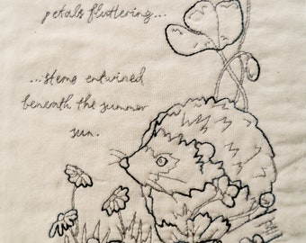 Printed pattern Red work 5 Hedgehog and poppies summer pattern wildlife hand sewing Raggedy Ruff Embroidery buttercups