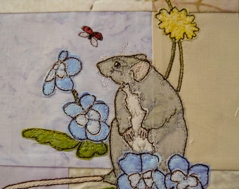 Fabric kit and Printed pattern for Ellie's rainbow quilt part 4 rat and pansies  raw edge applique tutorial free motion embroidery
