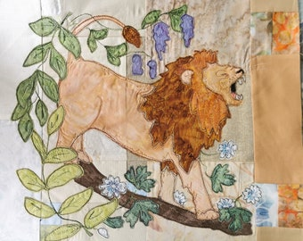 Printed pattern for Circle of Life BOM Month 4 Africa roaring lion