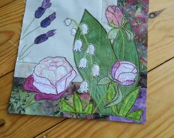 "PDF for summer Lily of the valley lavender peonies 8"" or 12"" square raw edge applique tutorial free motion embroidery"