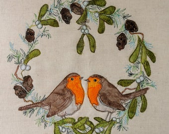 """Fabric Kit and Printed pattern for """"Country Sweethearts"""" winter robins raw edge applique tutorial free motion embroidery"""