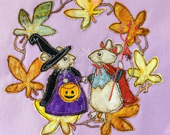PDF pattern for 'Miss Penny and the Devil' halloween mice witch devil raw edge applique tutorial free motion embroidery
