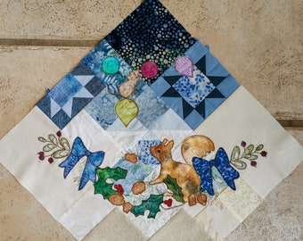 """Printed pattern Winter Tree Skirt"""" Block 4 applique Christmas tree skirt squirrel and mouse blue gold"""