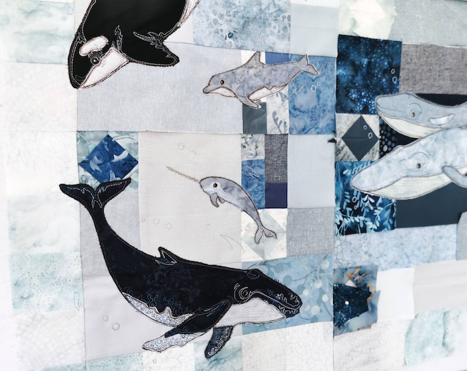 Featured listing image: Sign up for Full kit In the Deep  Block of the month applique Whale ocean