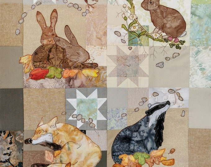 Featured listing image: Full kit In the Burrow  Block of the month applique fox  rabbits badgers