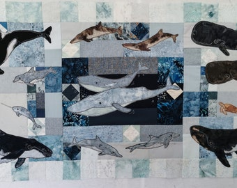Full Printed pattern set In the deep blocks 1 to 6 applique whale minke sperm orca right blue