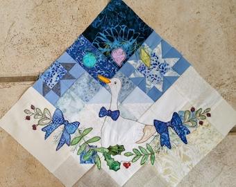 "Printed pattern Winter Tree Skirt"" Block 3 applique Christmas tree skirt George the goose blue gold"