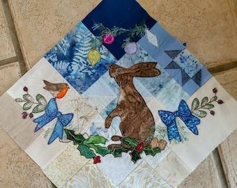 "PDF pattern Winter Tree Skirt"" Block 1 applique Christmas tree skirt hare blue gold"