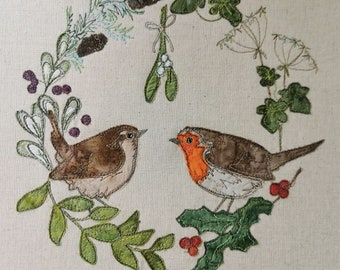 Fabric Kit and Printed pattern for mistletoe pair robin and wren raw edge applique tutorial free motion embroidery