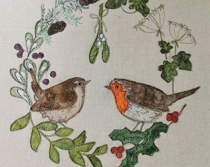 Featured listing image: Fabric Kit and Printed pattern for mistletoe pair robin and wren raw edge applique tutorial free motion embroidery