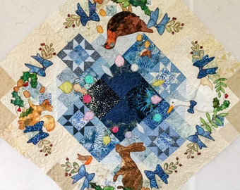 """Printed full pattern set Winter Tree Skirt"""" Block 1 to 4 applique Christmas tree skirt squirrel and mouse blue gold"""
