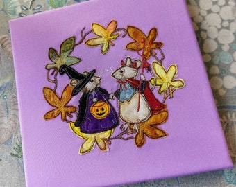 """Original art for sale 'The Devil and Miss Penny' 8"""" by 8"""" box canvas embroidered textile art"""