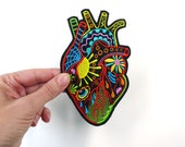 Heart Anatomic Sugar Skull Patch Embroidery Day of the Dead Calavera Heart iron on sew on