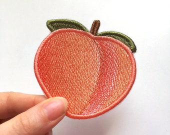 Peach Emoji Embroidered Patch jacket patch large sew on iron on patch emoji pin fruit patch