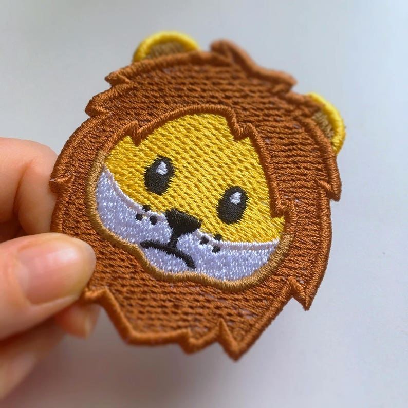 Lion Face Emoji Embroidered Patch jacket patch bag sew on patch jeans  t-shirt sweatshirt hat iron on patch emoji pin emblem Timid Lion