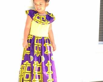 f90388a9f Portia Ankara Girls Off Shoulder Maxi Dress - Purple and Gold