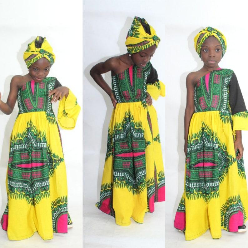 bc5d701d263b6f NEW African print Ankara Dashiki Girl Maxi Dress Girls One