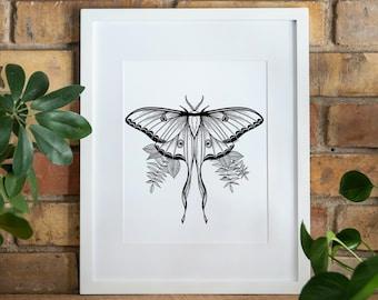 Luna Moth Digital Download Print, Luna Moth Printable Wall Art, Luna Moth Nature Print