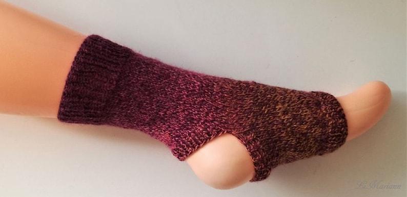 German quality toeless socks legwarmer,ballet,dancing socks dancing Yoga socks Pilates,pedicure,handknit,burgundy red