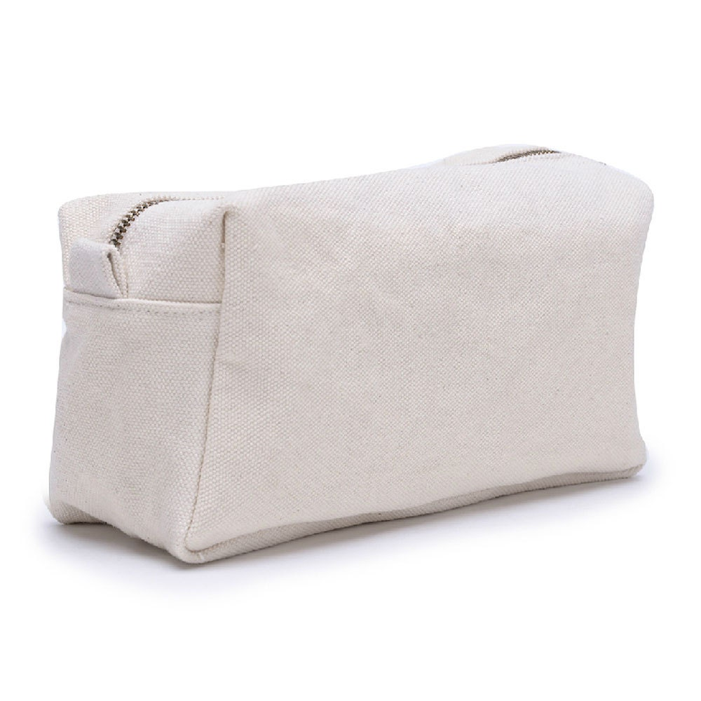 Cream Canvas Cosmetic Bag White Canvas Toiletry Bag Canvas