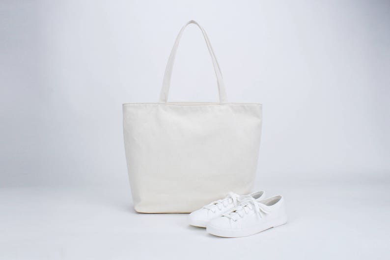 afbe36a170 Plain Cotton Canvas Tote Bag Shoulder Handbag Simple Tote | Etsy