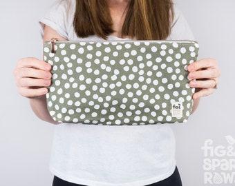 Sage Spot Clutch - Handbag, Evening Purse, Nappy Clutch Bag, Makeup Bag, Cosmetic Bag, Beauty Products, Ladies Clutch, Diaper Wallet