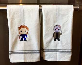 Michael Myers Or Jason Embroidered Pinhead Freddy Dishtowel