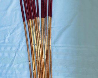 SALES SPECIAL - Set of 12 Classic Dragon Rattan Punishment Canes / School Canes / BDSM Canes ( Burgundy Handles )  - See specs