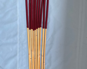 "ProDomme Ten Best - Set of 10 Classic Dragon Canes - 95 cms L & 10 different diameters (see specs) -14"" Burgundy Paracord handles"
