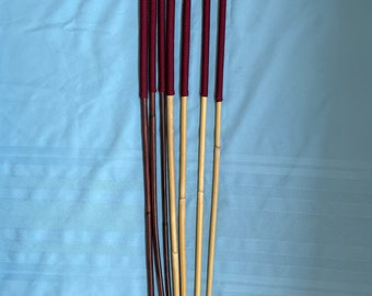 "Set of 7 Classic Dragon / Smoked Dragon Canes - 14"" Burgundy Paracord Handles- 90/95 cms L & 9-10/10-11/11-12/12-13 mm D"
