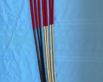 "Set of 7 Classic Dragon / Smoked Dragon Canes - 14"" Imperial Red Paracord Handles- 95 cms L & 7.5-8.5/9-10/10-11/11-12 mm D"