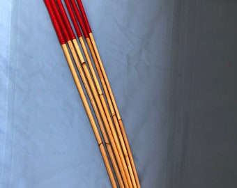 """Six of the very Best Set of 6 Classic Dragon Canes - 90 cms L & 7-8/8-9/9-10/10-11/11-12/12-13 mm D - RED 12"""" Kangaroo Leather Handles"""