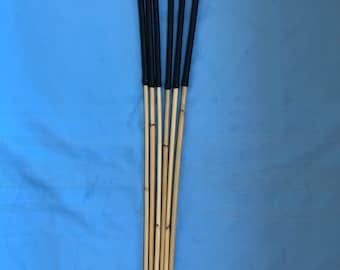 "The Swishing Six Set of 6 Whippy Dragon Canes - 95 cms L & 6.5-7/7-7.5/7.5-8/8-8.5/8.5-9/9-9.5 mm D - BLACK 14"" Kangaroo Leather Handles"