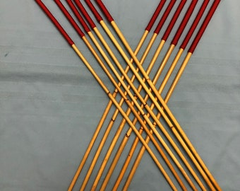 Dozen of the Best - Set of 12 Classic Dragon Rattan Punishment Canes / School Canes / BDSM Whipping Canes ( Imperial Red Handles )