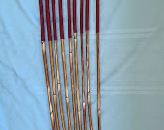 SALES SPECIAL - Set of 9 Classic Dragon Rattan Punishment Canes / School Canes / BDSM Canes ( Brick Red Handles )  -See specs