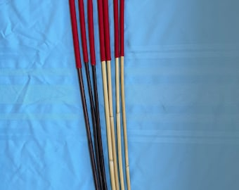 """Set of 7 Classic Dragon / Smoked Dragon Canes - 14"""" Imperial Red Paracord Handles- 95 cms L & 7.5-8.5/9-10/10-11/11-12 mm D"""