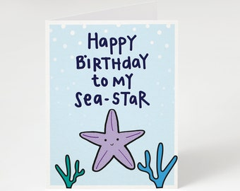 Happy Birthday To My Sea Star Greeting Card Funny For Sister Starfish Punny