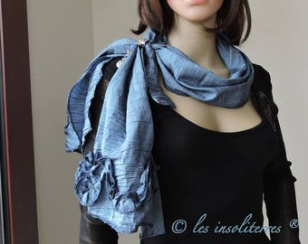 closed with jewel blue polyester EFC5 satin frilly satin scarf