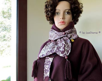 scarf snood bi polar purple aubergine cotton printed aubergine plum color match the cape coat