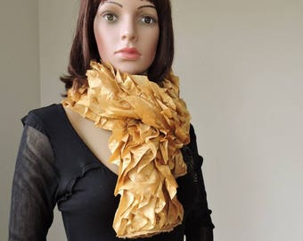 scarf color polyester satin frilly satin gold EFC6