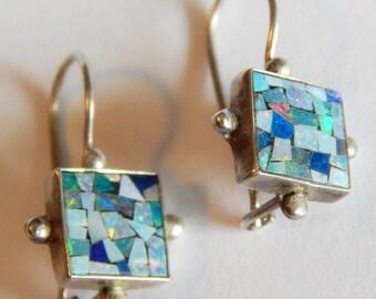 Shimmering STERLING Silver OPAL Signed ear wire earrings